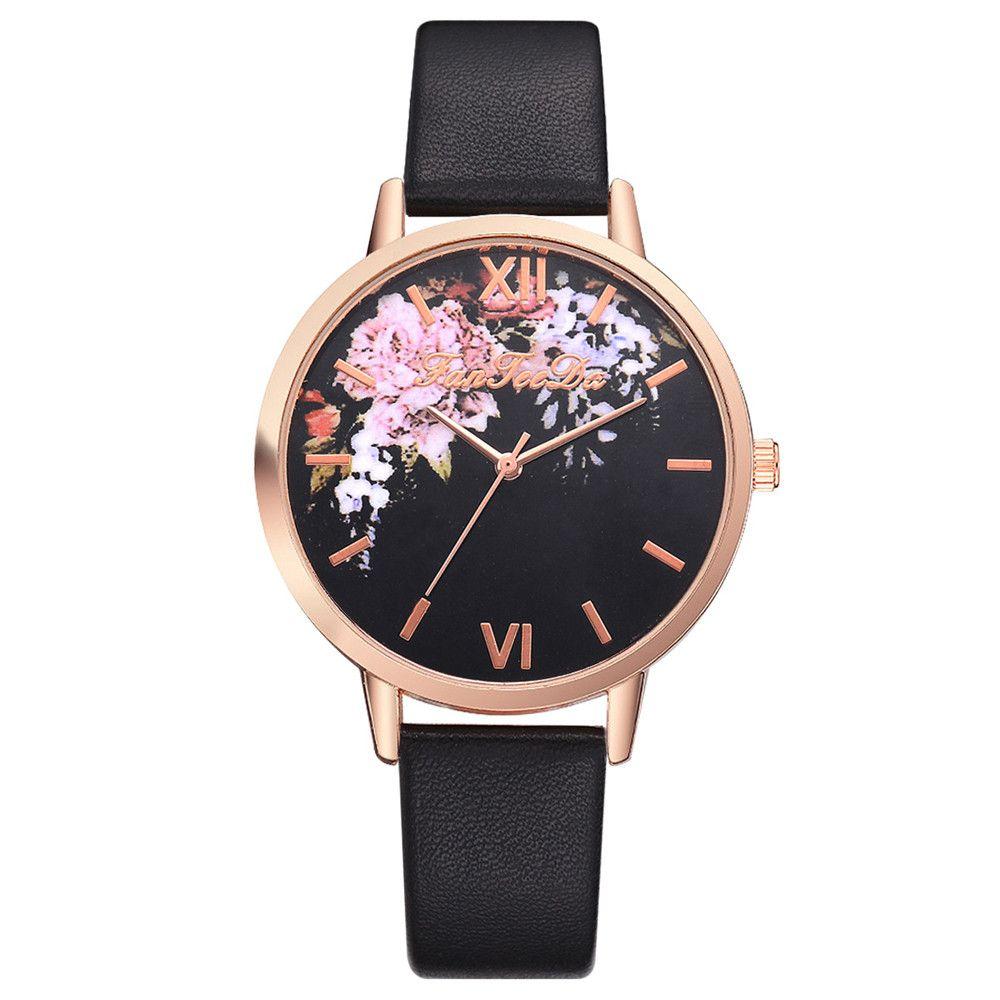 2eae4d59aad8 Compre Pulsera De Mujer Reloj Moda Rosa De Oro Flores Cuero Simple Vestido  De Mujer Relojes Regalo De Lujo De Negocios Reloj Reloj Floral Casual A   33.96 ...
