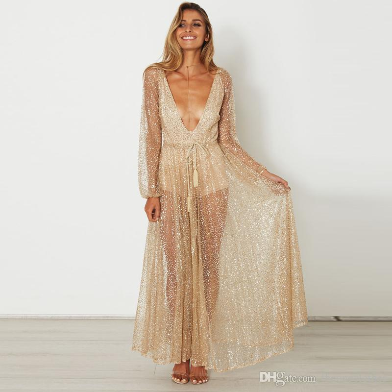 2f0ebc91ffe 2019 Fashion Women Maxi Dresses Sexy Deep V Neck Glittery Sequins Dresses  Hot Backless Golden Sheer Evening Gown Nightparty Perspective Dress From ...