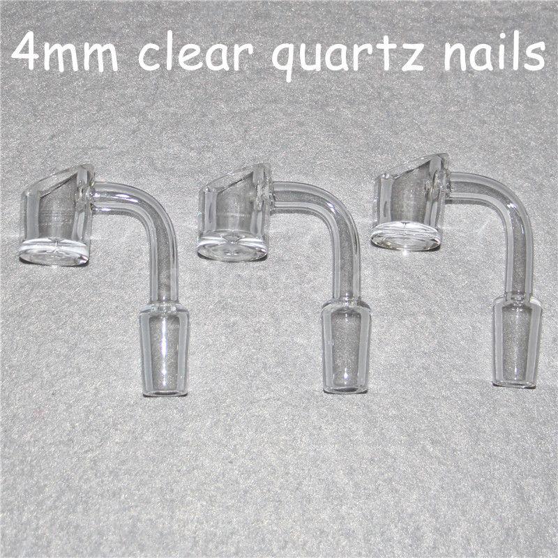 4mm espessura de alta qualidade Domeless quartzo banger unha 90/45 graus 10mm 14mm / 18mm, masculino / feminino od 22mm 100% real de quartzo banger prego
