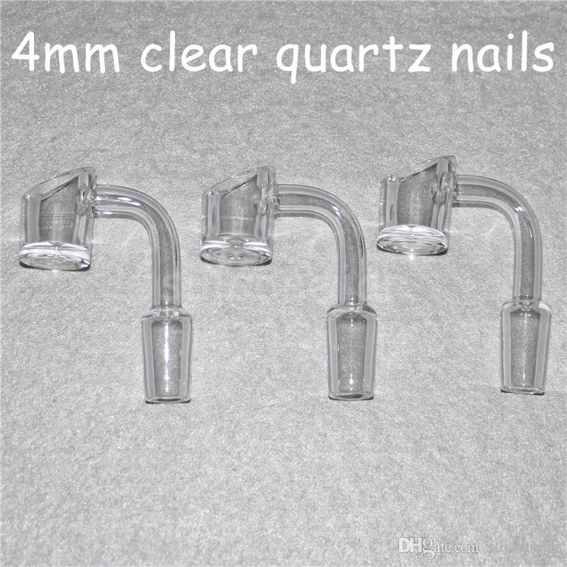 Female Male 10 14 18 mm Quartz Nail 4mm Thick 45 90 Degrees 100% Pure Quartz Banger Nail Domeless Glass Bong Nail