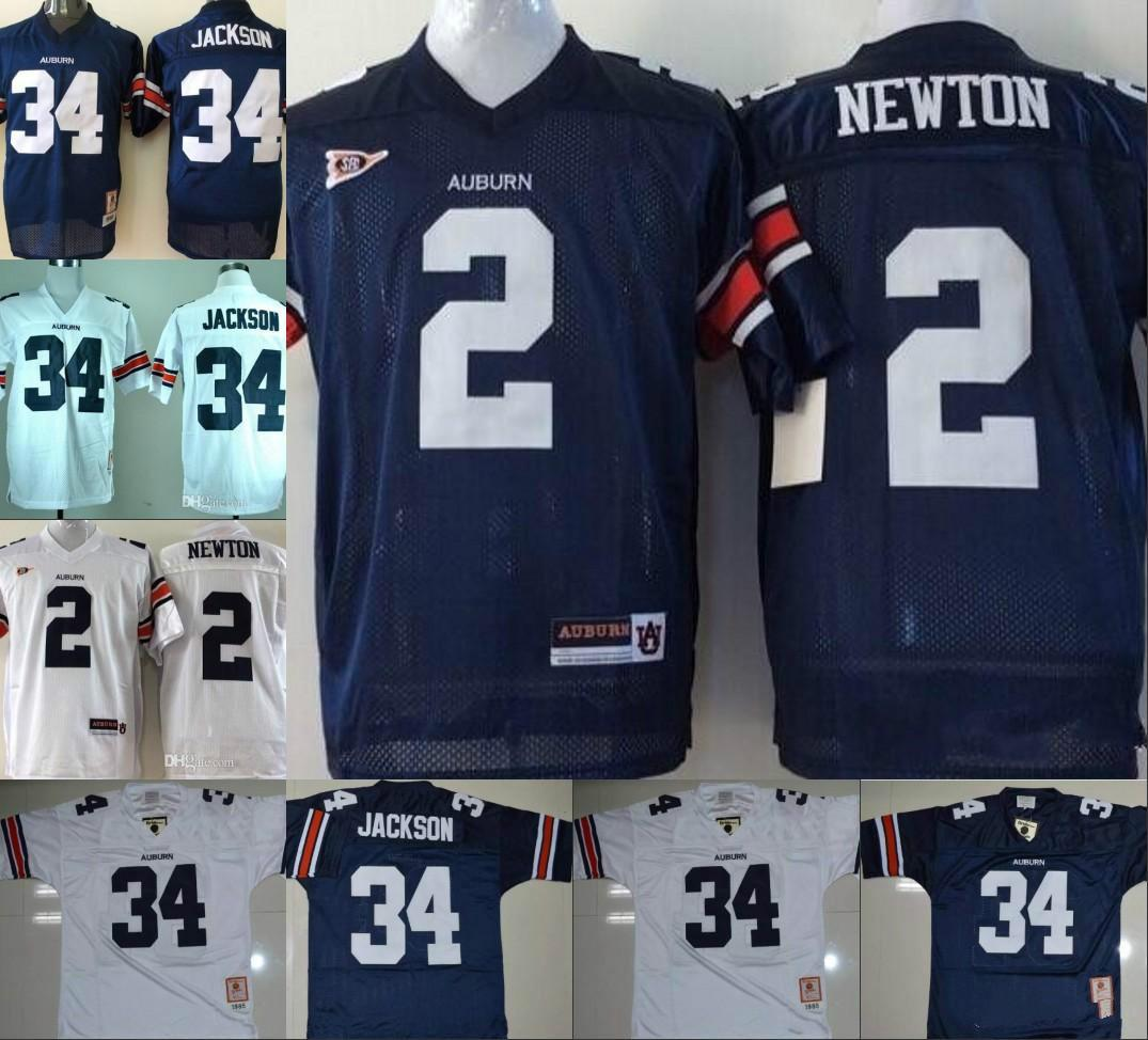 Mens Auburn Tigers  2 Cam Newton 34 Bo Jackson Kids Navy Blue White ... 48ef92293