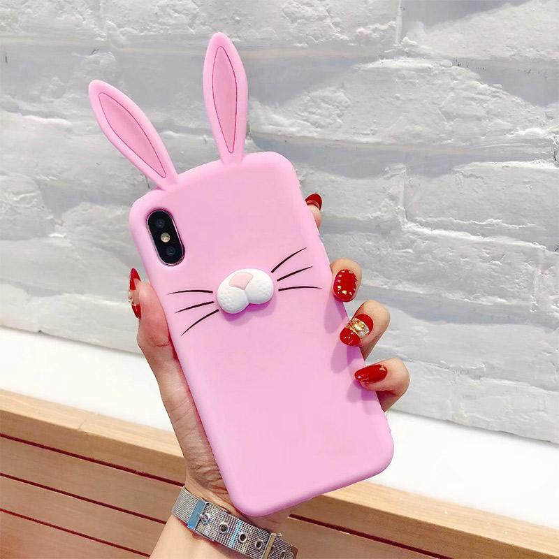 more photos eebc8 4ac15 Wholesale Silicone Cute Rabbit Ears Phone Back Cover For iphone 6 7 8 plus  Xs MAX XR Soft shock proof Phone cases for female
