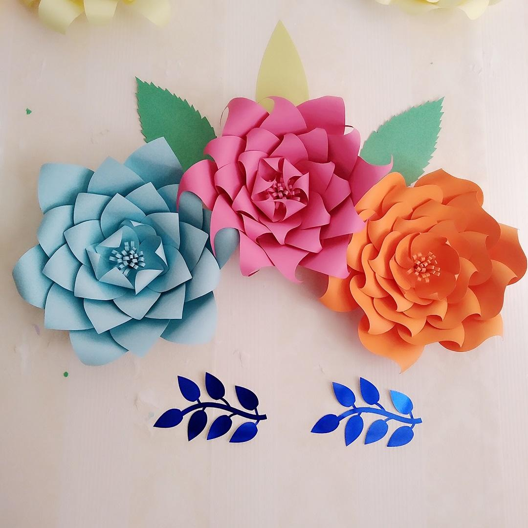 Handcrafted Card Stock Giant Paper Flowers 3pcs Leave 5pcs For Baby Shower Baby Nursery Decorations Party Decor Large Rose