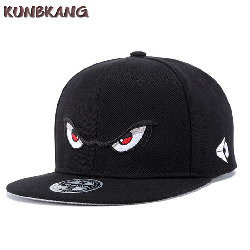 New Men Eyes Flat Baseball Cap Cartoon Embroidery Hip Hop Caps Gorras Male  Street Trend Leisure Hip-hop Snapback Hat Adjustable Snapback Hats Hop Cap  ... c5c8c9c2a80f