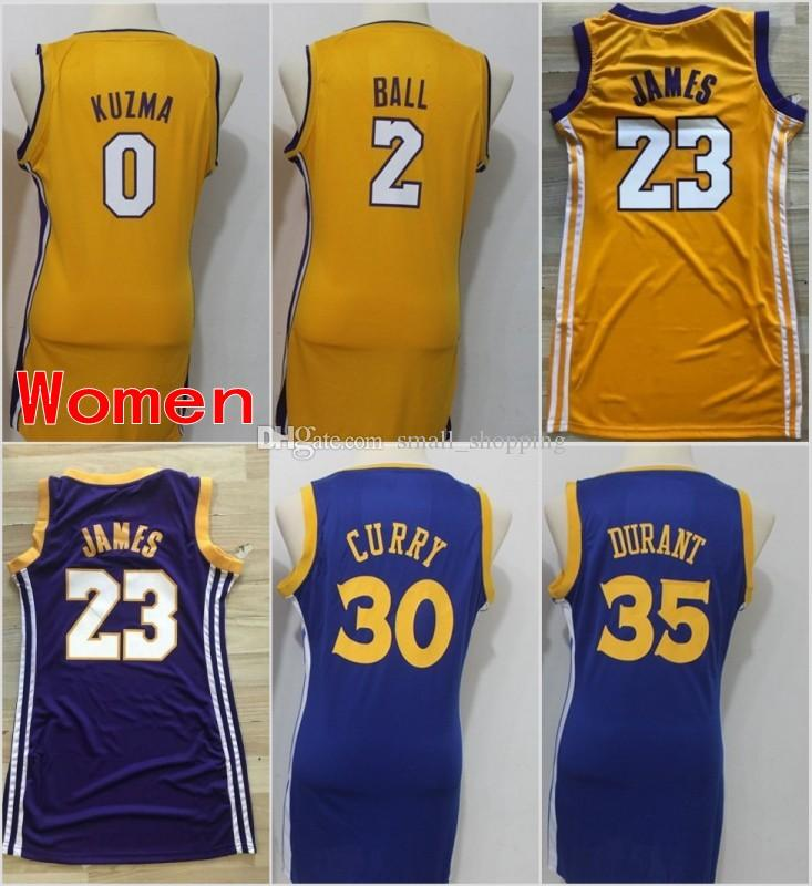2018 Women Los Angeles 23 LeBron James Lakers Jerseys Golden State 30  Stephen Curry Warriors 35 Kevin Durant 0 Kyle Kuzma 2 Lonzo Ball Stitched  From ... ee2972d7a