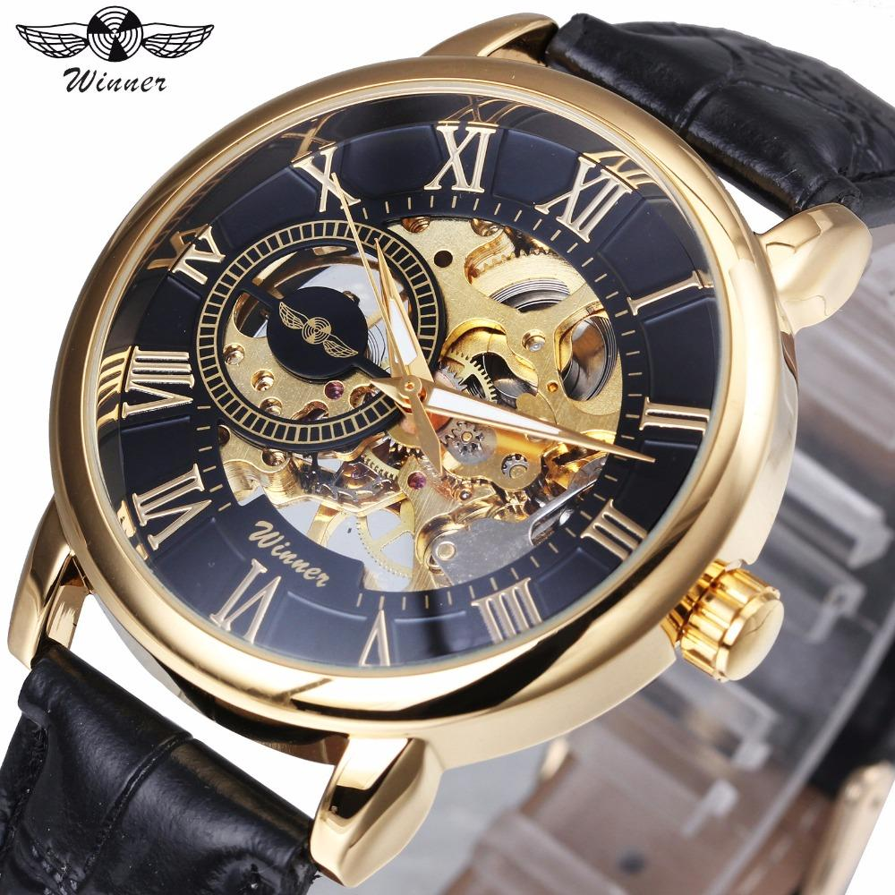 Watches Mechanical Watches 2018 Winner Classic Golden Skeleton Mechanical Watch Men Leather Strap Top Brand Luxury Man Business Vip Drop Shipping Wholesale