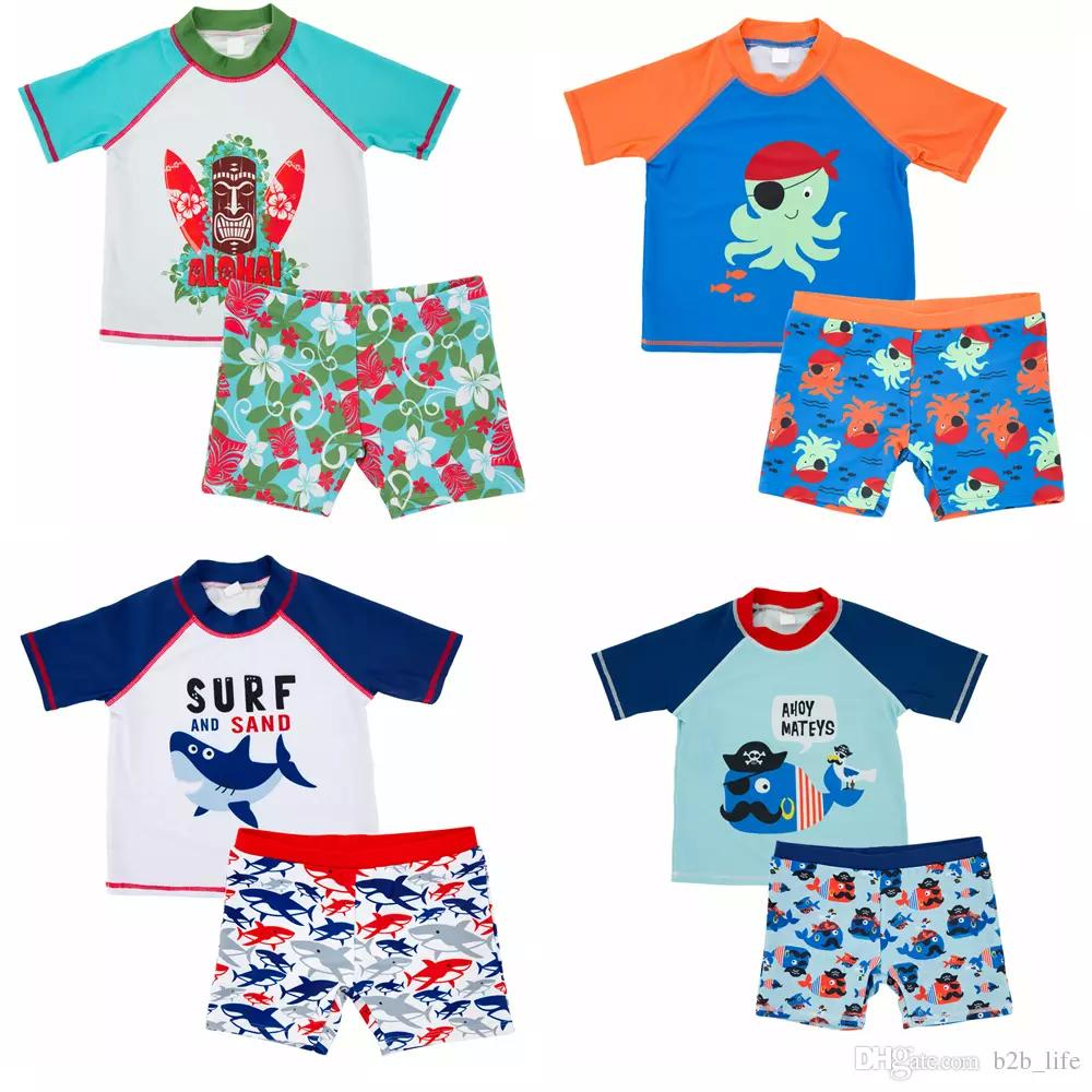 021b816bac6f 2019 INS Kids Shark Whale Cartoon Boys Swimsuit Octopus Marine Style  Printed Set Short Sleeves Pullover Swimwear Bathing Suit 4styles FFA173  From Kids_dress ...