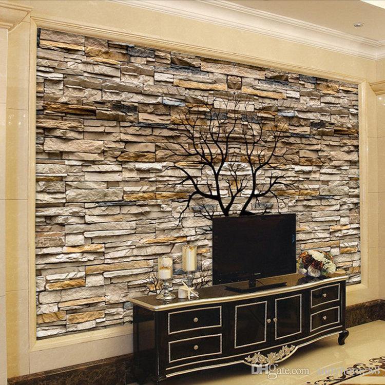 Foto personalizzata Wallpaper 3D Muro di pietra Tronco Wallpaper Soggiorno Divano TV Sfondo muro Murales Wallpaper Papel De Parede 3D
