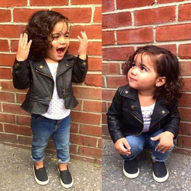 3c30d6c586d6 Fashion Baby Girls Leather Jackets PU Short Coat For Girl Outerwear ...