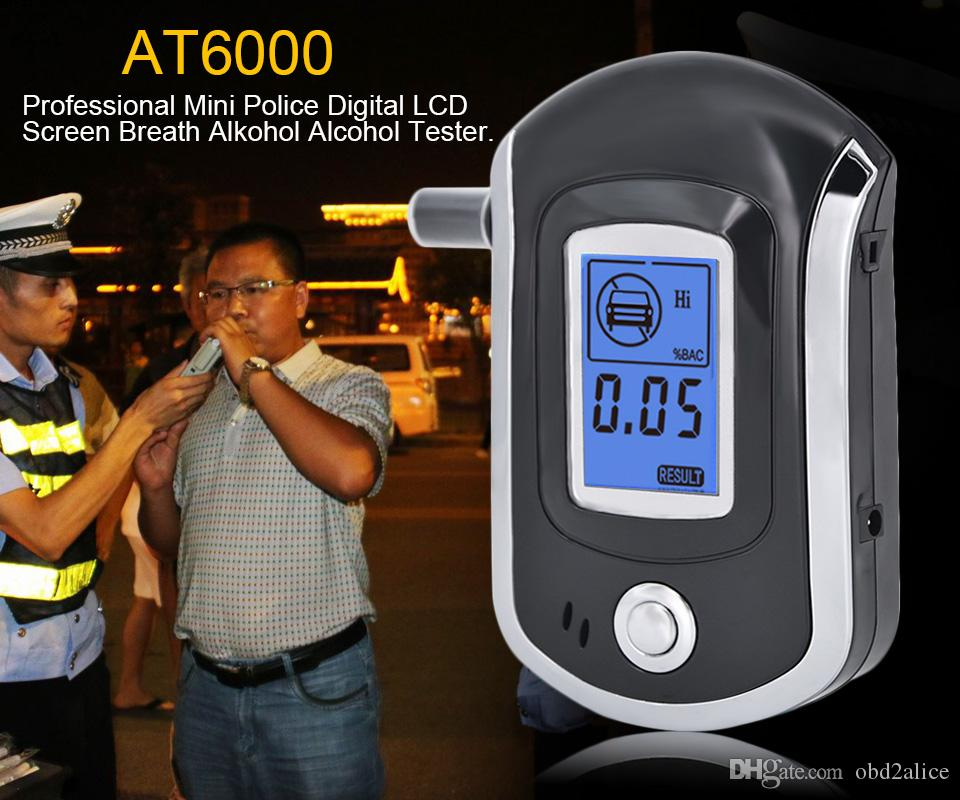 Vente chaude mode professionnel Mini Police Digital LCD Souffle Alcool Testeur Alcootest AT6000 Par China post