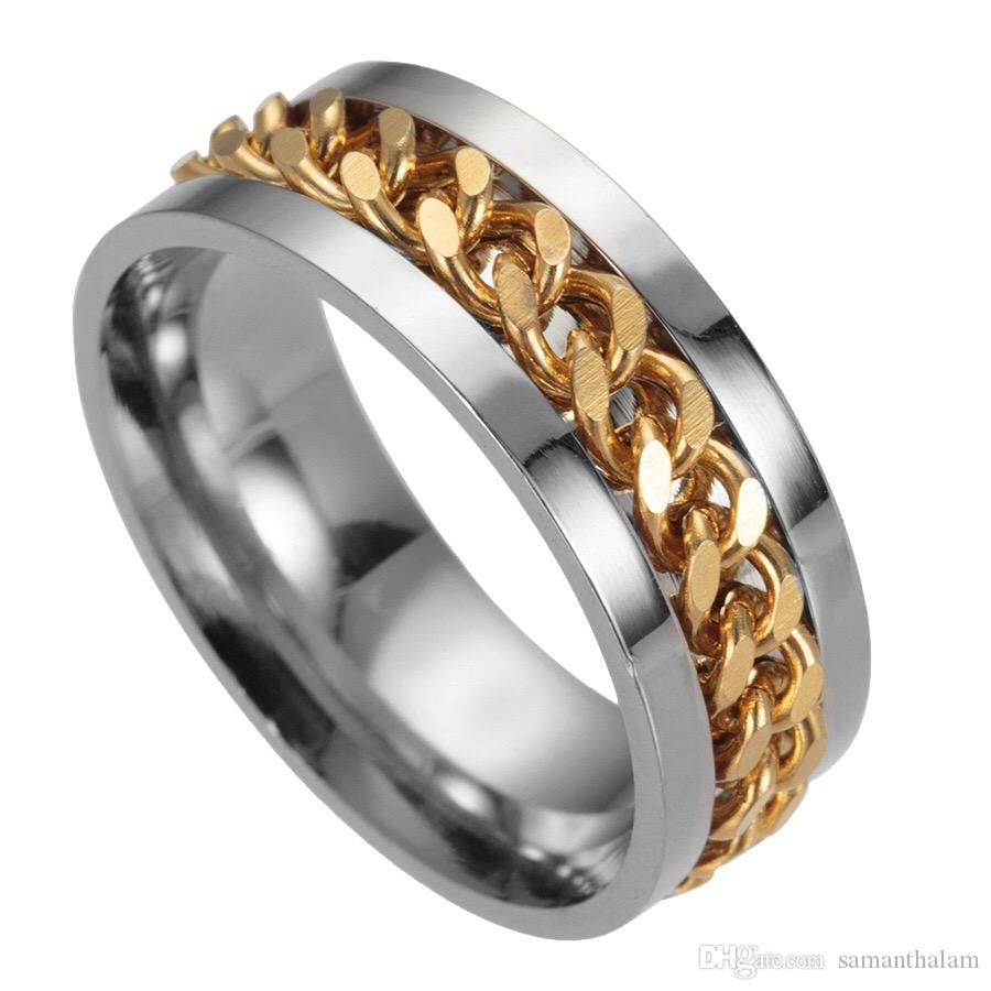 2018 Top quality New High-end boutique men's stainless steel gold black silver chain rotatable ring finger tide personality