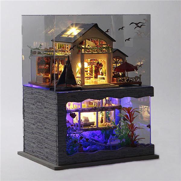 784d5d9a6 DIY Dollhouse Miniature Model Hawaii Villa House With Light Cover ...