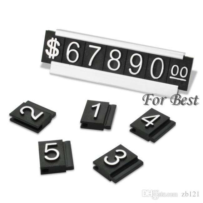 Atacado-Prata 30 Conjuntos Frete Grátis Preço de Jóias Etiqueta de Exibição Tag Contador de Número Ajustável Cubo Cifrão Com Suporte de Base