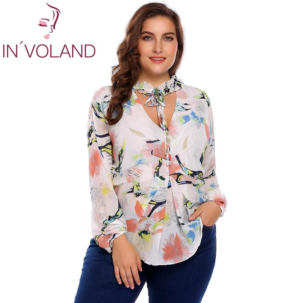 c70112c39db 2019 IN VOLAND Plus Size M 3XL Women Chiffon Blouse Blusas Tops Autumn  Spring V Neck Long Sleeve Dot Floral Tie Shirt Female Pullover D18103104  From ...