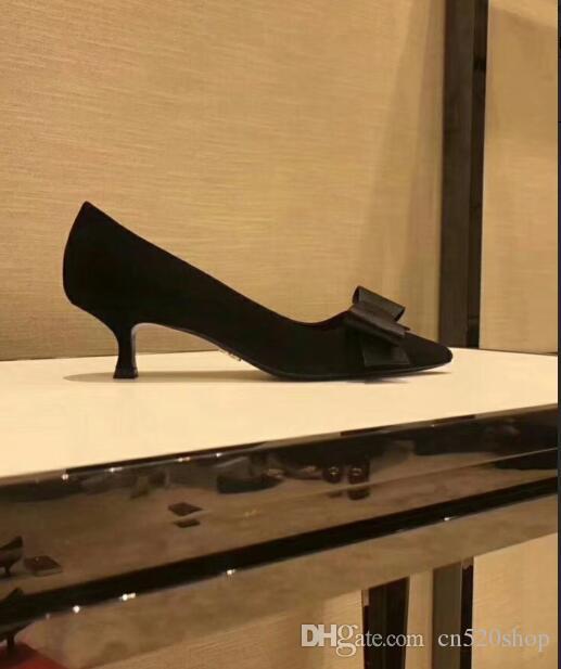 cdb9073607c Kitten Heels Women Pumps Work Wear Dress Shoes 2018 Elegant Black Bowtie  Female Evening Party Prom Pointed Toe Low Heels Wedding Shoes Tennis Shoes  Oxford ...