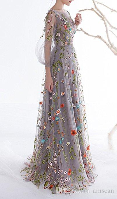 2018 New Arrival Floral Long Sleeves Long Prom Dresses A-Line Flower Printed Evening Party Dresses Plus Size Pageant Prom Gowns Custom Made