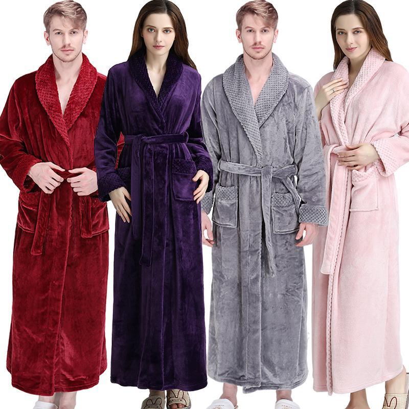 Solid Color Lovers Loose Winter Bathrobe Men Women Long Kimono Bath Robe Male Dressing Gown Female Flannel Robes Nightwear Underwear & Sleepwears Robes