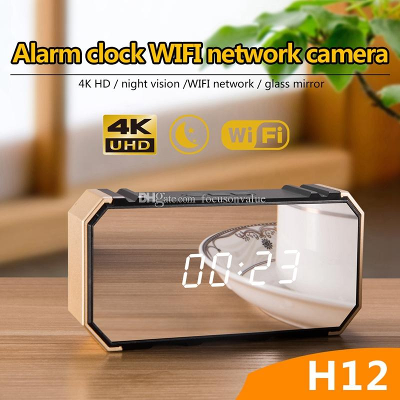 Wireless wifi remote monitoring camera HD 4K 1080P alarm Clock video camera portable mirror clock MINI DV DVR for home security