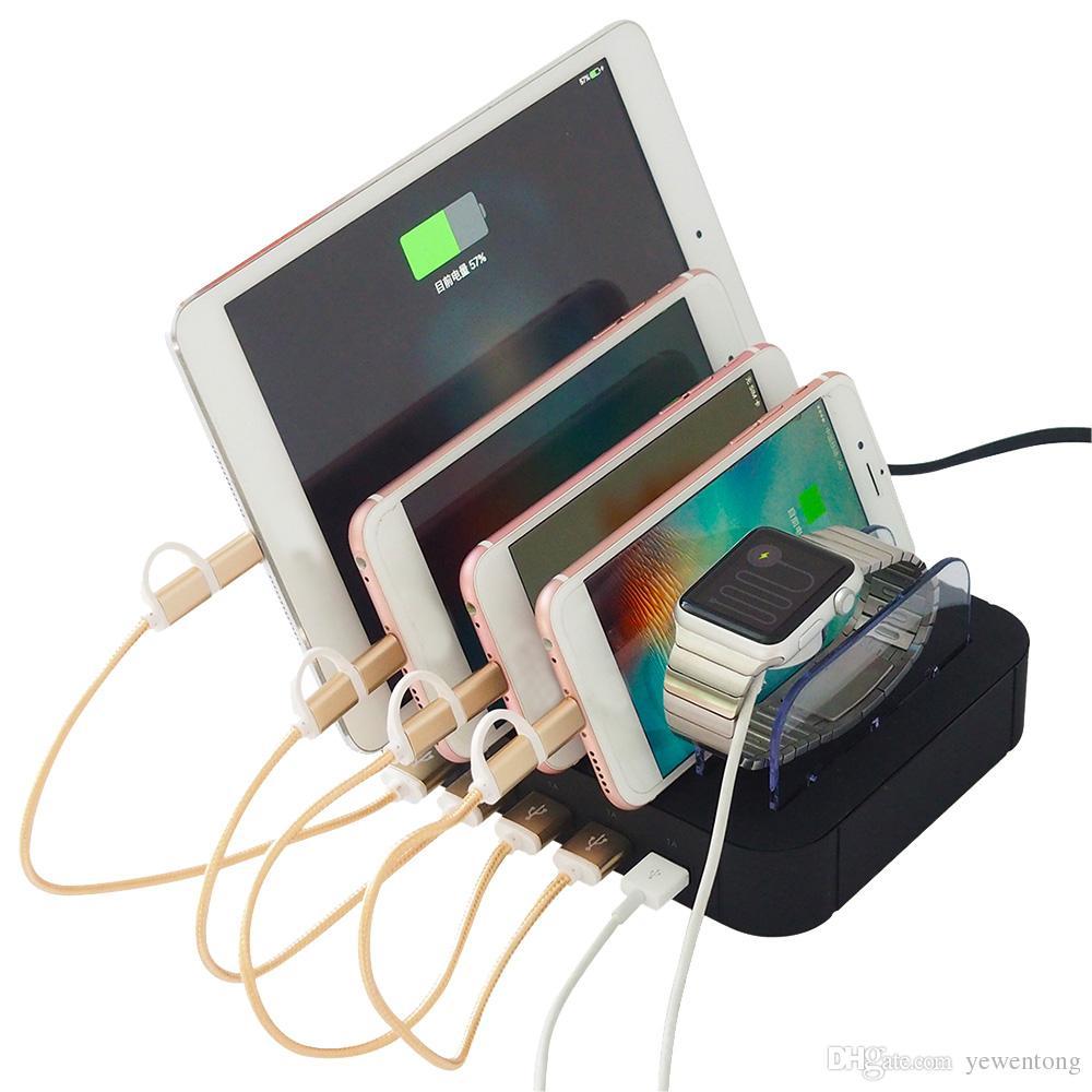 4 Multi Ports Universal Abnehmbare USB Ladestation Ständer Halter Desktop Ladegerät für Handy Tablet EU Us-stecker