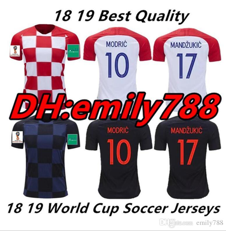 2019 2018 World Cup Soccer Jersey Home Away 18 19 MODRIC PERISIC RAKITIC  MANDZUKIC SRNA KOVACIC Red Blue Hrvatska Football Shirt From Emily788 72b97634d