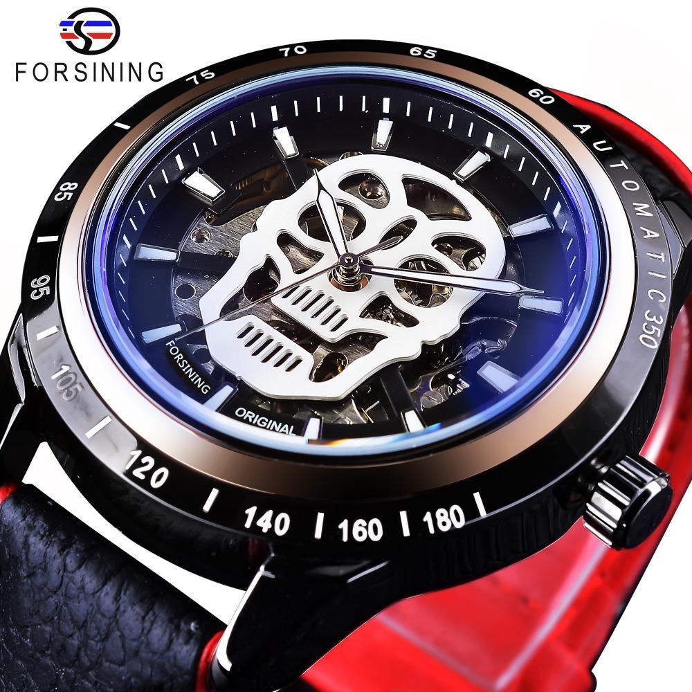 6a6911ba12e Compre Forsining Relógio Do Esporte Crânio Esqueleto Preto Relógios  Vermelhos Relógios Automáticos Dos Homens Top Marca De Luxo Luminosa Design  Resistente À ...