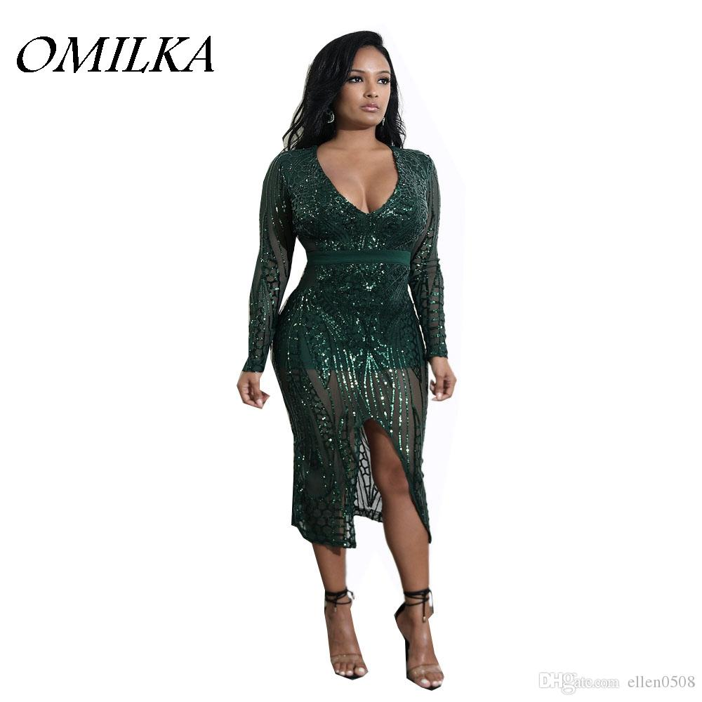 OMILKA 2018 Spring Women Long Sleeve V Neck Bodycon Sequin Midi Dress Sexy  Green Nude Black Glitter Shiny Club Party Dress One Shoulder Dresses Green  ... 48a1c3a5e
