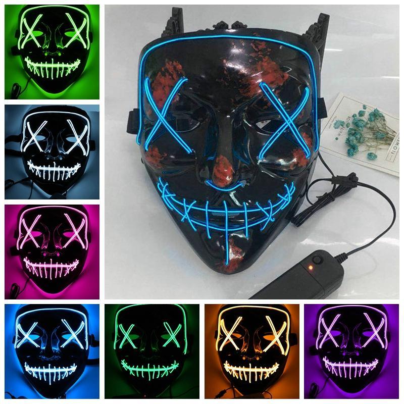 Led Face Mask El Wire Halloween Xmas Mask Light Up Ghost Slit Dj ...