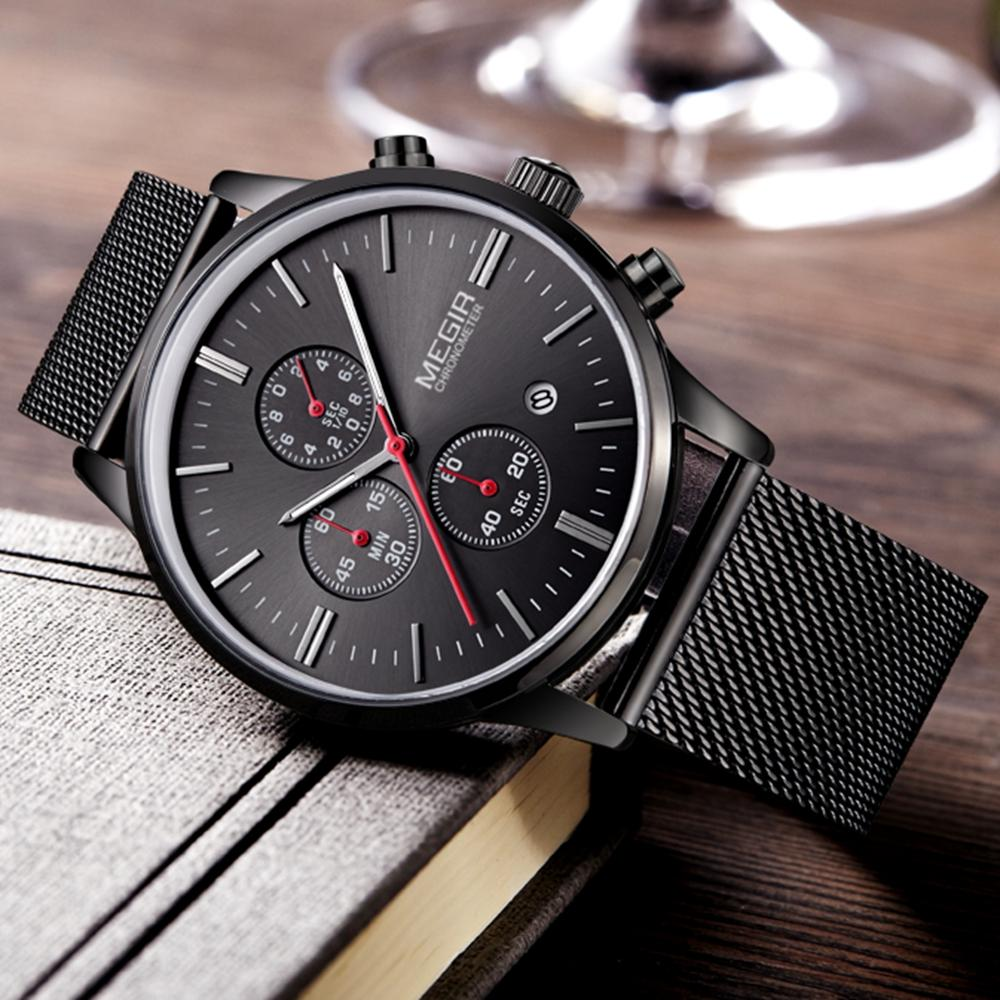 ee8c3d45b9d4a Fashion Simple Stylish Top Luxury Brand MEGIR Watches Men Stainless Steel  Mesh Strap Band Quartz Watch Thin Dial Clock Man 2011 Online Watches Buy  Buying ...