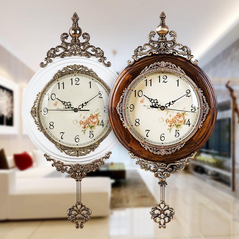 646e6495e4c5 Compre Relojes De Pared De Madera Clásicos Reloj De Péndulo Antiguo Europeo  Reloj De Movimiento De Cuarzo Silencioso Borde De Arte Reloj De Péndulo De  Pared ...