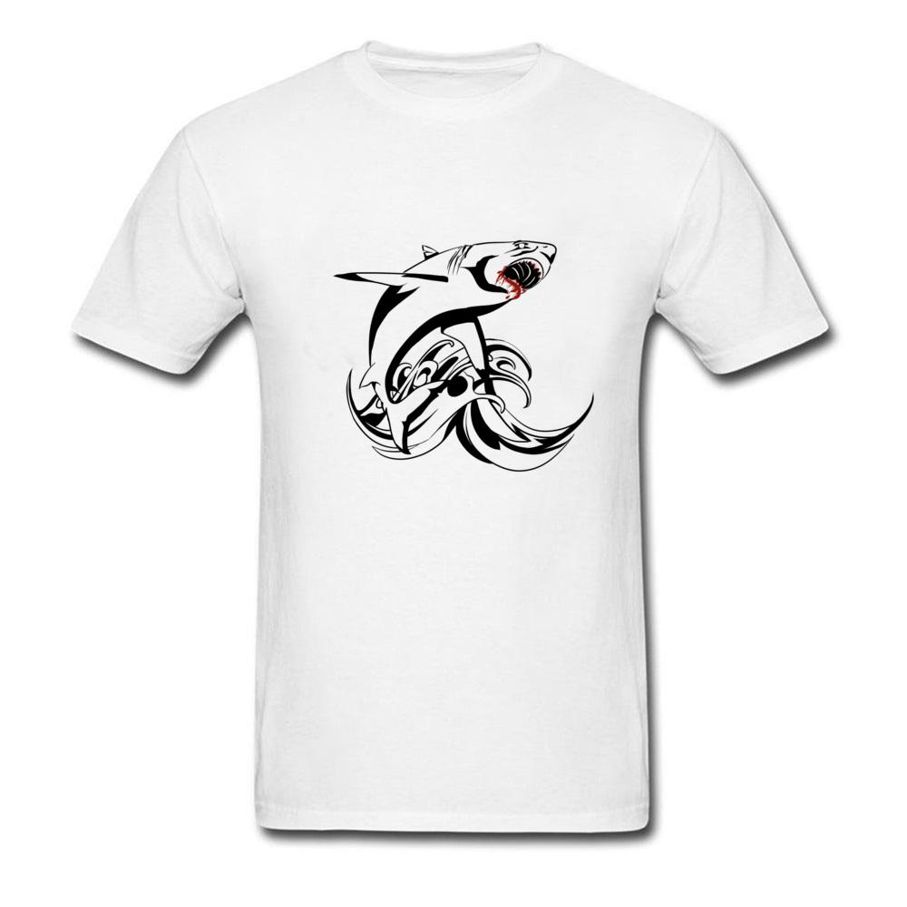 1dceb089a Tribal Blood Shark Tattoo Design Men Black White Red T Shirt College Custom  Student's Fashion Tops Tees Ink Painting