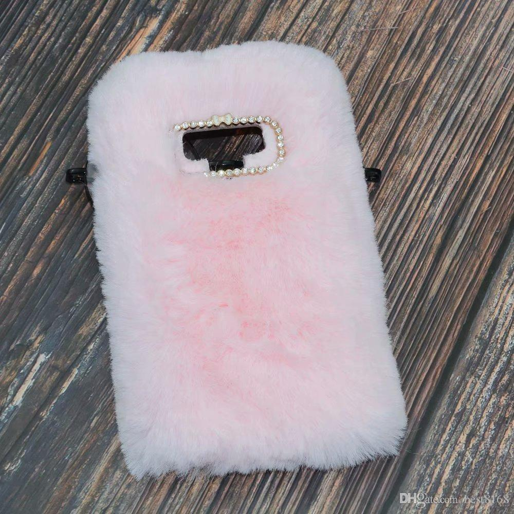 Genuine Rabbit Hair Case For Galaxy Note 9 (J4 A6 J8)2018 J3 J5 J7 2017 EU LG Q7 Bling Diamond Fluffy Fur Girl Soft TPU Silicone Cute Cover