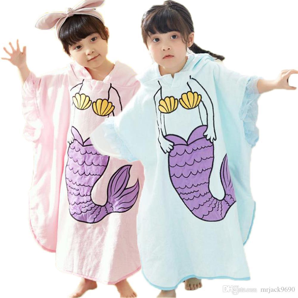 a7d6998318ea5 New Children Bathrobe Kids Mermaid Pattern Cotton Hooded Towel Girls Soft  Cape Cloak Bath Towel Female Cute Nightgown Homewear Sleepwear