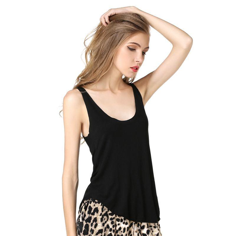 f16cc28685724 Spring Summer Tank Tops Women Sleeveless Round Neck Loose T Shirt ...