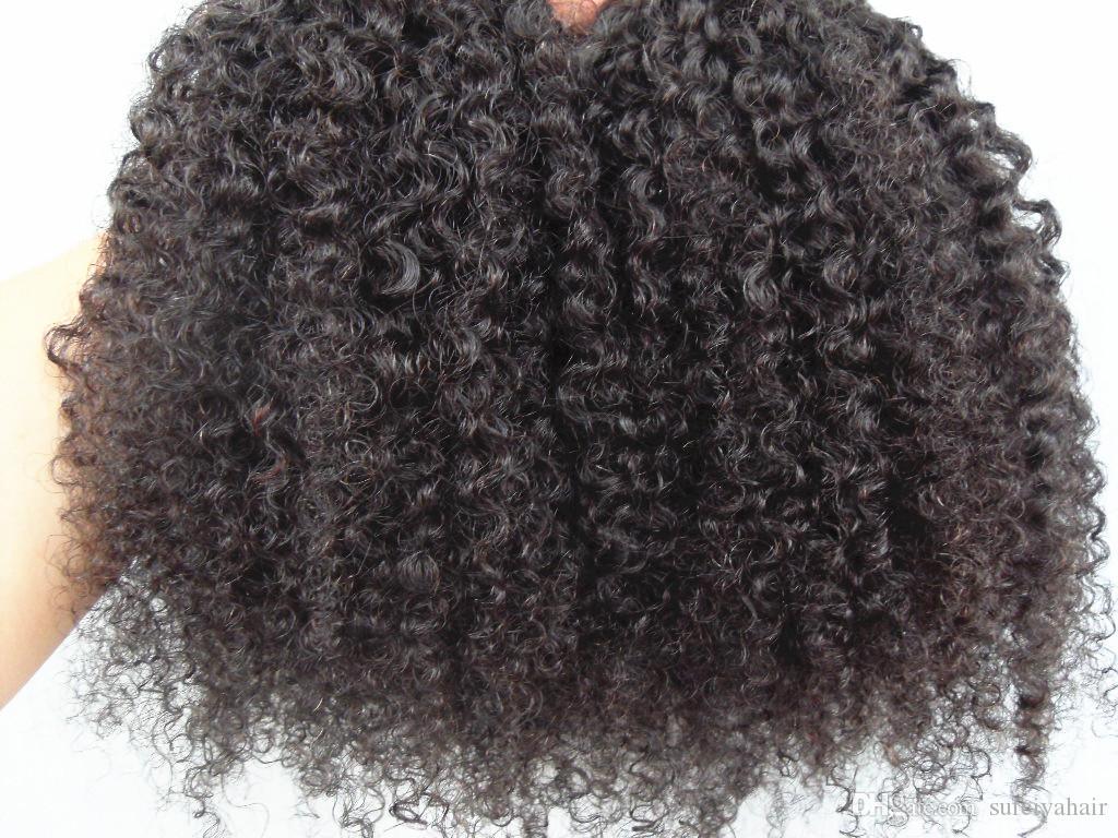 Moda Brasileira Virgem Humana Remy Cabelo Kinky Curly Cabelo Trama Humano Macio Duplo Duplo Duplo Extensões Não Transformadas Natural Natural Black Color