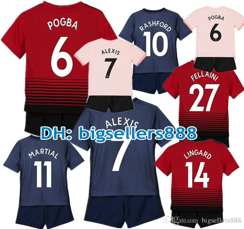 POGBA ALEXIS 18 19 Kids LUKAKU RASHFORD Red Home Away Soccer Jersey Kits  3RD Ibrahimovic MATA MARTIAL Child Football Shirt LINGARD FELLAINI Jersey  Soccer ... d4666918d