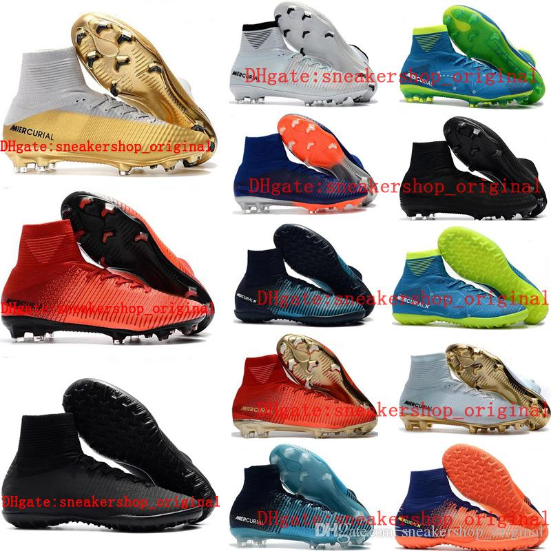 2d8a2ebc8 2018 Boys Soccer Shoes Mercurial Superfly V SX Neymar Ronalro CR7 FG Kids  Soccer Cleats Indoor Football Boots Mens Botas De Futbol Youth Tf Leather  Boys ...