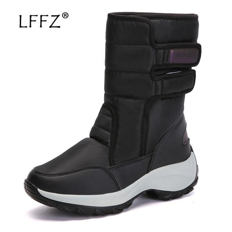 1c009354cc6 LFFZ Fashion 2018 Winter Boots Women -20 Degree Keep Warm Size 35-42 Snow  Boots Waterproof Platform Non-slip 25 Cm High