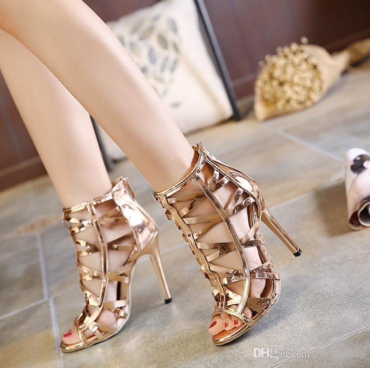 2017 새로운 샴페인 컷 - 아웃 얕은 신발 섹시한 지퍼 샌들 숙녀 독특한 파티 하이힐 구두 고품질 빅 사이즈 40