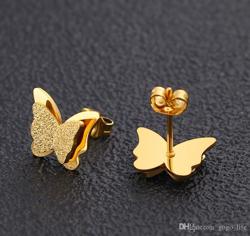 New Butterfly Earrings Rose Gold Color Stainless Steel Stud Earrings for Women Child Frosted Butterfly Cartilage Ear Studs