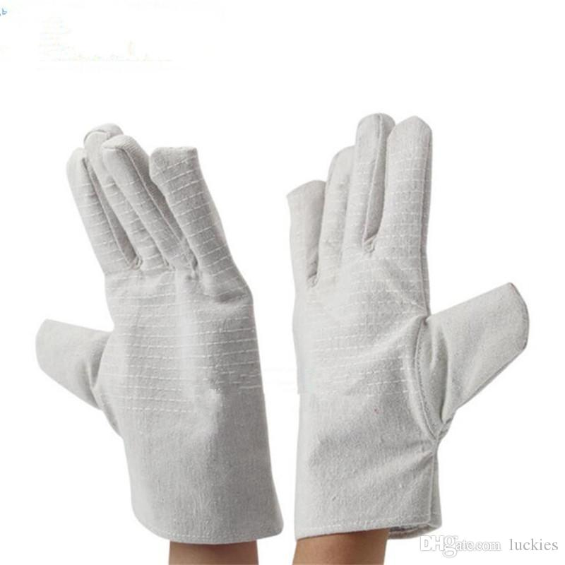 Double Deck Canvas Work Gloves Labor Safty Gloves Double Thickening  Anti-Skid Protection Welding high temperature Gloves