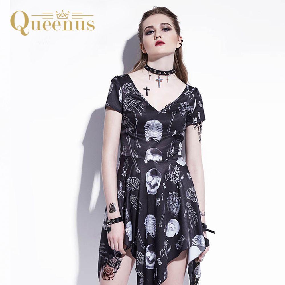 1dbad88f847 2019 QUEENUS Gothic Asymmetrical Dress Skeleton Bone Print Summer Dress A  Line Fashion Skull Preppy Goth Dress Black Women Mini Dress From Tielian
