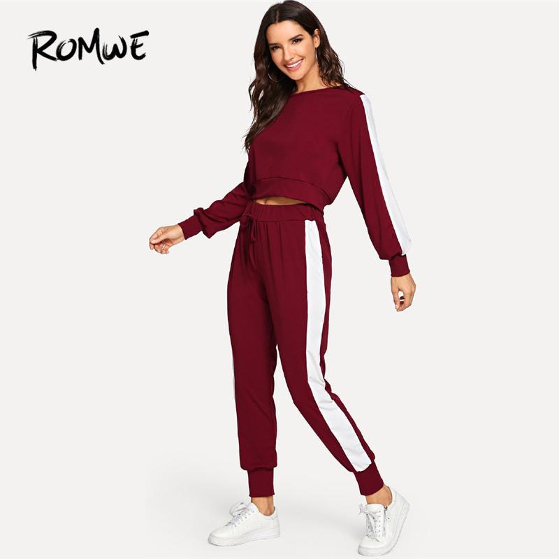 Acheter Romwe Sport Bourgogne Pull À Manches Longues Avec Un Pantalon  Longues Femmes Jogging Costumes 2018 Automne Sportswear Ensembles Gym  Fitness Costumes ... f2adb73fa74