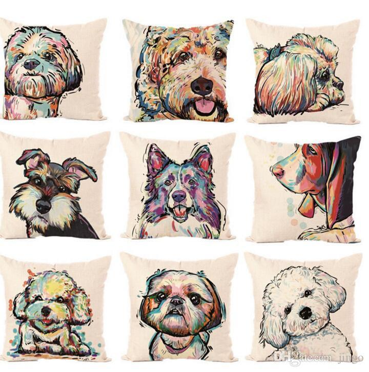 DHL Bull Terrier Painted Pillow Case Bull dog dachshund 3D Square Linen Cushion Cover For Home Sofa Pillow Case 45*45cm