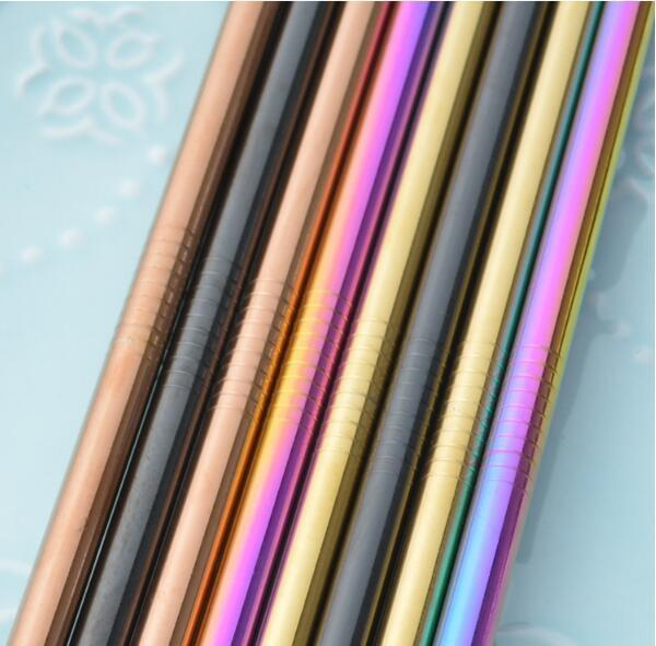 New 21cm Stainless Steel Straw Drinking Reusable Metal Colorful Milk Tea Juice Mugs Straight Drinking Straws Bar Tool