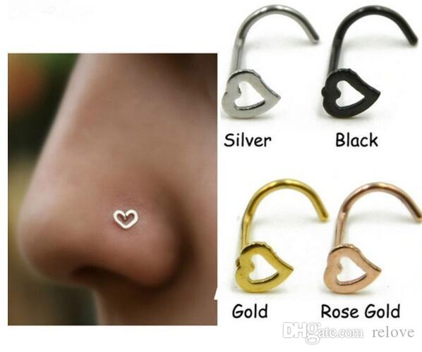 Fashion Heart Nose Rings S Shape Stud Ring Body Jewelry Piercing Stainless Steel Nose Open Hoop Ring Earring Studs