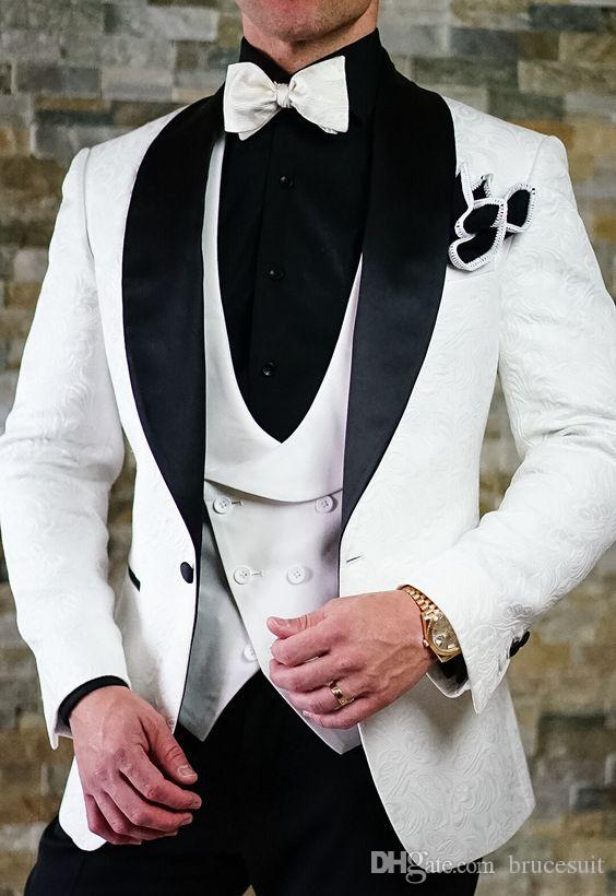 2018 White and Black Paisley tuxedos wedding suits for men British style custom made Mens suit slim fit BlazerSuit+Pant0115