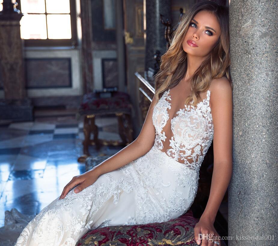 Milla Nova Vintage Lace Abiti da sposa Mermaid Illusion Champagne abiti da cerimonia formale Abiti da sposa retrò Dubai pizzo splendido