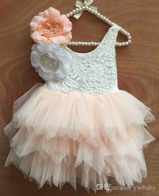 0399ce690c Girls Dresses Crochet Lace Tulle Dress Baby Girl Clothes Princess ...