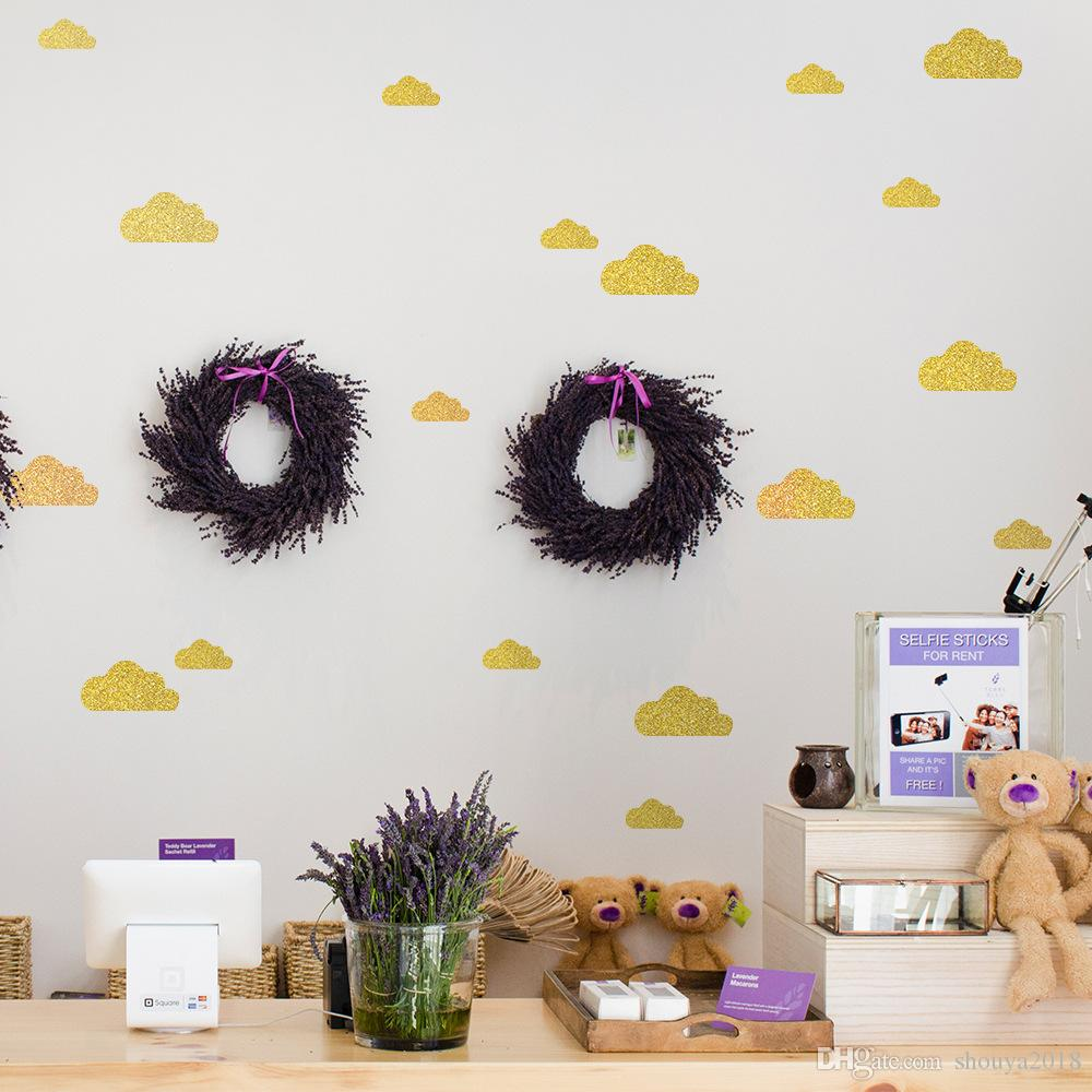 6 Sheets Diy Cloud With Glitter Wall Stickers Decals Kids Children ...