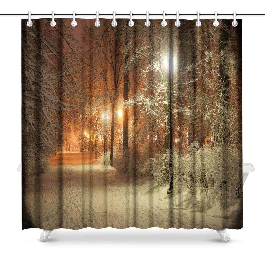 Aplysia Winter Alley In Park And Shining Lanterns Fabric Shower Curtain Decor With Hooks 72 X Inches Curtains